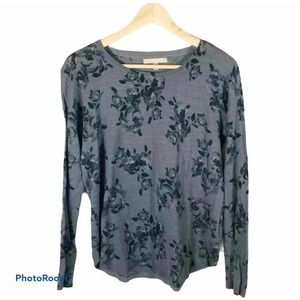 Banana Republic gray floral rose sweater size XS